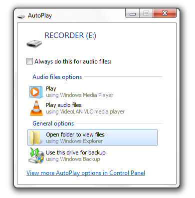 USB Flash Drive Recorder Autoplay